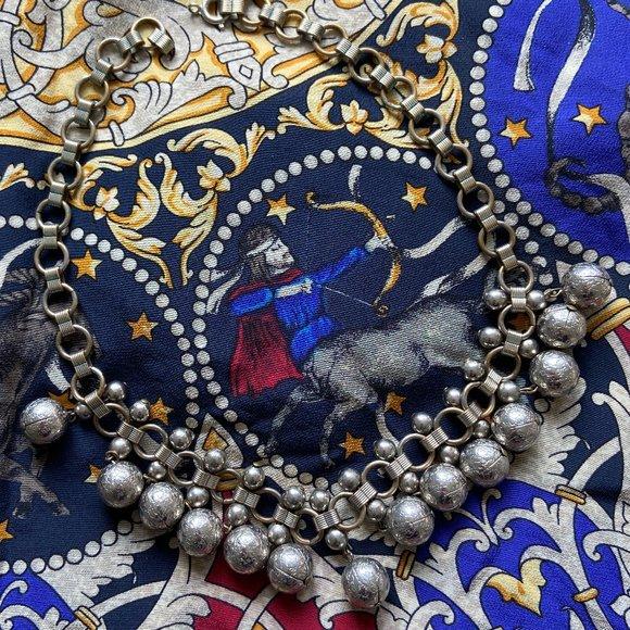 VTG 70s Silver Boho Statement Collar Necklace